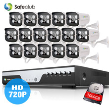 HD 16pcs AHD 1.0MP in/Outdoor CCTV camera Kit 16Channel hdmi 1080p ahd dvr 4*Array Surveillance Camera system 16ch 1080P NVR