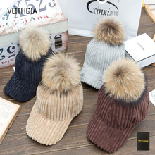 VEITHDIA Spring Autumn Baseball Cap corduroy detachable Faux Fur Pom Ball Bobble Suede Hat Female Candy Color Sun Hats(China)
