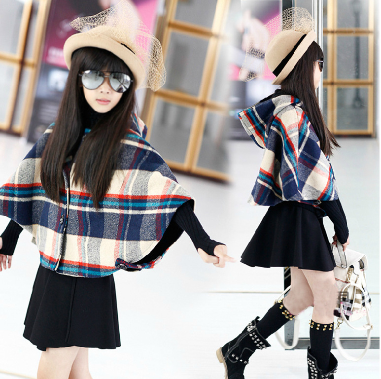 Girls Autumn Winter Burnoose Cashmere Wool Plaid Jacket-skirt Two Pieces Kids Clothing Sets Red Black Cotton<br>