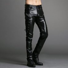 Wholesale Mens Black Leather Pants slim men pants Faux Leather Pu sexy Black Color Motorcycle Skinny Faux Leather Pants For Men(China)