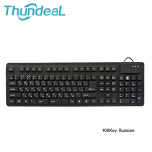 108keys Keyboards Black USB Wired Russian Letter Silicon Portable Keyboard Teclado Layout Teclado Desktop Notebook OTG for Phone(China)