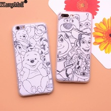 Hot Fundas Coque Phone Case for iPhone 8 7 7plus 6s 6 6plus X SE 5 5s  Case Silk Art sketch Winnie Pooh Flexible Hard Back Cover
