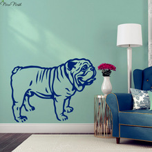 English Bulldog Wall Decal Vinyl Sticker Home Decor, Bulldog Decals Art Mural, Living Room, Bedroom, KItchen Wall Decoration(China)