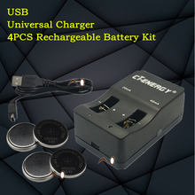 High-quality  NEW universal USB interface charger 1PCS + 4PCS rechargeable coin cell LIR2032 Button Battery
