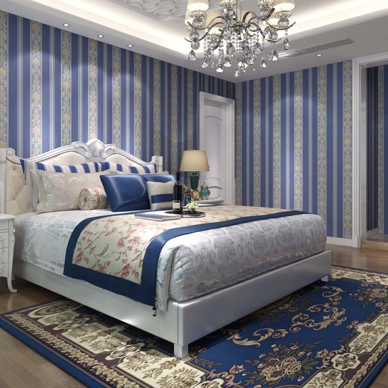 Italian Style Dark Blue Striped Wallpaper Pvc Living Room Background Wallpaper Roll Dark Blue Wallpaper For Bedroom Home Decor<br>