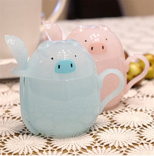 Cute Cartoon Mugs Piggy Plastic Cup 200ml Breakfast Drinking Cups Children's Favorite Pig Cup Creative Animal Water Cups(China)