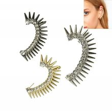 Fashion Punk Rivet Clip on Earrings Exaggerated Personality Women Ear Wrap Rhinestone Cuff Earrings Wholesale 1pc Left Ear