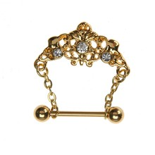 Royal Gold Color Tiara Crystal Dangle Piercing Nipple Ring Creative Fake Piercing 2017 Body Jewelry