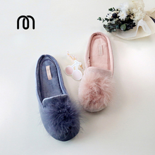 Millffy fluffy rabbit indoor slippers Home Furnishing breathable cotton mop cotton slip rubber floor slippers