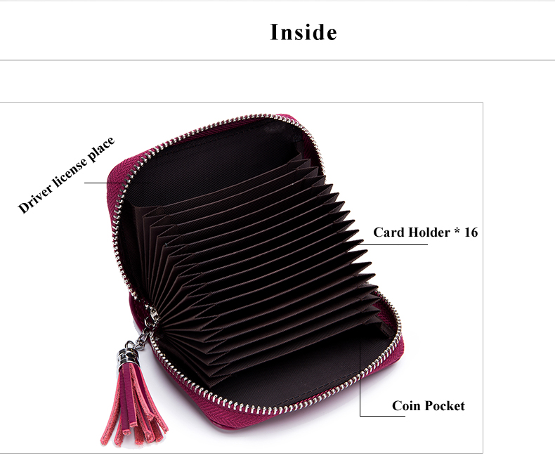Lomelobo Lady Split Leather Card Wallet Holder Girl Zipper Coin Purse Women Cowhide Large capacity Card Case Housekeeper HCL7126 Details (03)