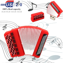 novelty design Musical Instruments Model red Accordion USB Flash Drive 4GB 8GB 16GB 32GB Music Art style pendrive memory stick(China)