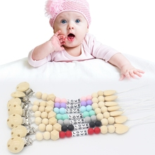 Buy Baby Nipple Clips Wooden Beads Teether Letter Pacifier Infants Soother Holders for $1.40 in AliExpress store