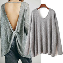 2017 Fashion Backless Knits Sexy Grey O Neck Long Sleeves Solid Women Tops 100% Real Images(China)