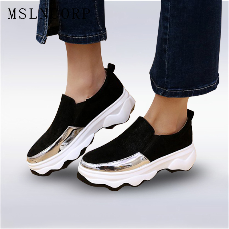 Size 34-43 New Slip-On Slimming women fashion leather casual shoes Fitness Lady Durable Mixed Colors Light weight Trainers Shoes<br>
