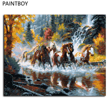 DIY Painting By Numbers Frameless DIY Digital Canvas Oil Paintng Of Horse Home Decoration For Living Room GX9138 40*50cm(China)