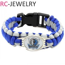 2017 New Basketball Bracelet Dallas Mavericks Charm Braided Bracelet for Men Women Sport Bracelet Jewelry Gifts