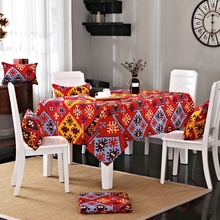 Red Tablecloth Mysterious Geometric Patterns Printed Festival and Pretty 100% Cotton Tablecloth for Dining Room Decoration