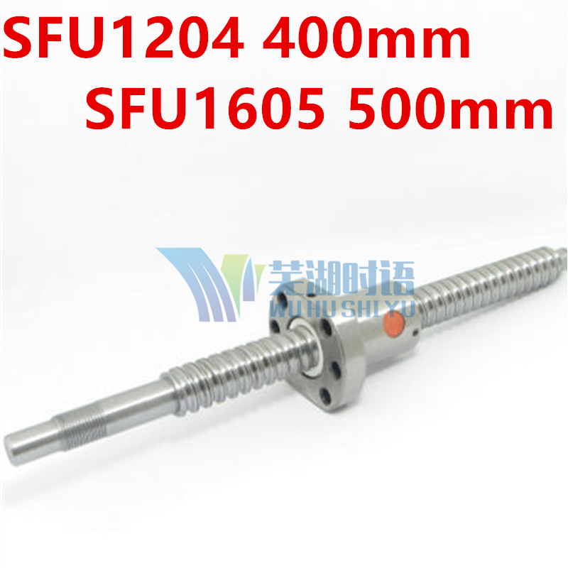 SFU1605 500mm Ball Screw Rolled ballscrew 1 pc SFU1605 L 500mm with 1605 Flange single ball nut for CNC parts BK/BF12 machined<br>