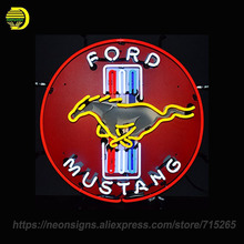 NEON SIGN For Ford Mustang Red Glass Tube Handcrafted with Backing Artwork Great Night Lamp Decorate Garage Custom Advertise