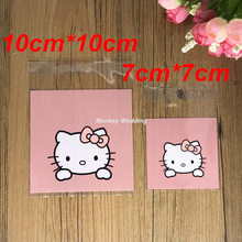 100 pcs/lot 2 Sizes Pink Hello Kitty Biscuit Packaging Bag Clear Cookie Packing Plastic Candy Bags For Wedding Baby Shower(China)