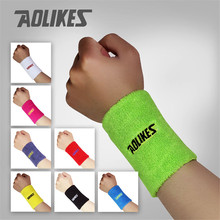 AOLIKES 1PCS Gym Yoga Cotton Sweat Wristbands Sport Wrist Brace Support Sweatband For Tennis Badminton Running