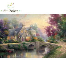 E-Point Thomas Kinkade Landscape Oil Painting Print on Cotton Canvas Painting Abstract Christmas Decorations for Home YG1551(China)