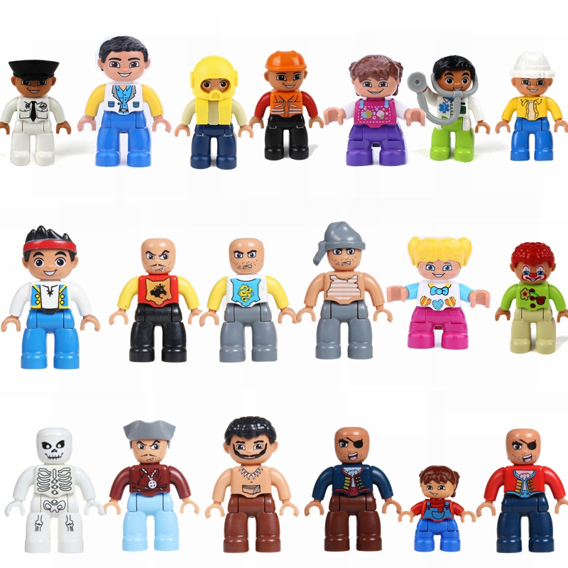 Single sale Locking Duplo City Clown Little Boy Little Girl Character Block Duplo and lockings compatible with children