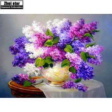 Full drill Diamond embroidery Purple Lilac Flower 5D DIY Diamond painting Cross Stitch Rhinestone mosaic decoration painting ZX