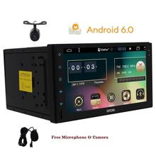 Quad core Android 6.0 universal 2din Car without dvd player pc universal radio for nissan car 2 din car stereo with free camera