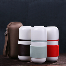 Unique outdoor travel ceramic tea cup Creative combo filter with ceramic coffee cup Carry the cup