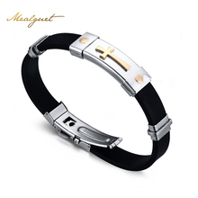 Meaeguet Cross Bracelet For Men Women Black Silicone Bracelets Stainless Steel Spring Clasp Jewelry Simple Design