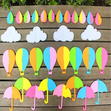 32pcs Brand Design 3D Cloud Rain Drop Umbrella Air Balloon Printed Felt Children handmade Nonwoven Decoration DIY Felt Fabric