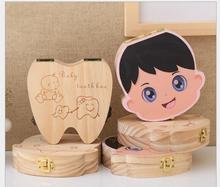 Wood Storage Box for Kids Boy&Girl Tooth Box Organizer storage box for Baby Milk Teeth Save organizador English styles