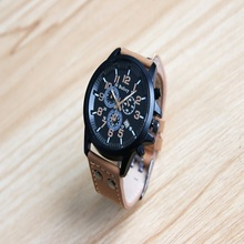 Mens Roman Numerals Brown Glass Watches Men Luxury Leather Analog Quartz Business Wrist Watch Men's Clock Relogio(China)