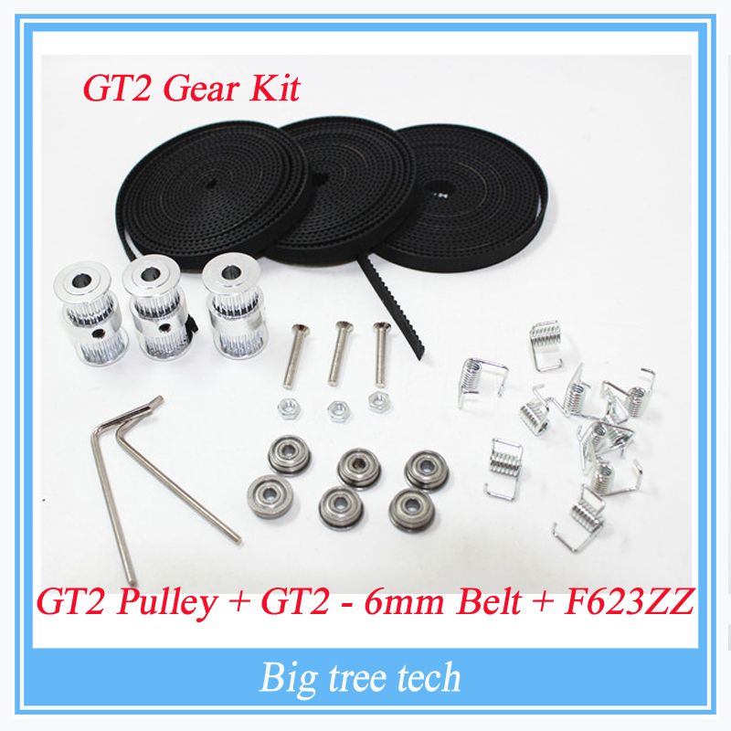 F623ZZ Bearing + 2M Belt GT2 20 Tooth Pulley bore 5mm for Delta Rostock Kossel Mini &amp;GT2 Gear kit<br><br>Aliexpress