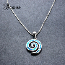 Bamos High Quality 925 Sterling Silver Filled Female Party Gift Unique Blue Fire Opal Spiral Pendant Necklaces For Women NL0090(China)