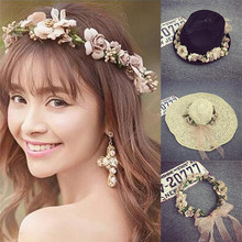 Bohemia Wedding Party Hair Accessories Beach Jewelry Wreath Flower Floral Headband For Women Bridal Crown Hairband