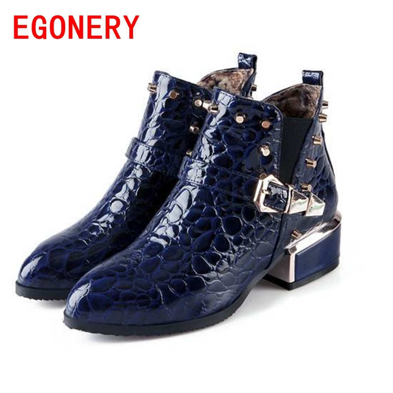 EGONERY shoes 2017 new winter women fashion hoof high heels ankle boots casual riding equestrian slip-on pointed toe shoes<br><br>Aliexpress