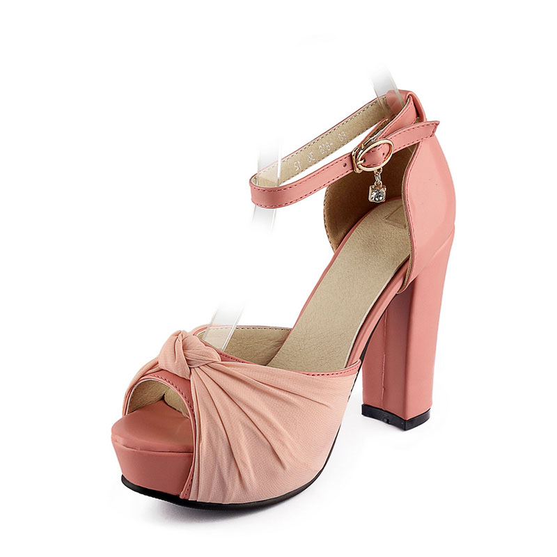 Summer Women Shoes Womens Sandals PU Fashion Casual Party Buckle Strap Square Heel High Heels Platform Solid Microfiber <br>