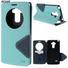 Orange Case For LG G4 Roar Korea Diary View Window Leather Stand Flip Cover Case for LG G4 H810 H815 F500 F500K F500L(China)