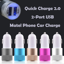 GodBrand Matel Car Charger for Mobile Phone Quick Fast Charge Dual USB Phone Car Charger Car Adapter 2Port USB
