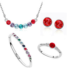 Fashion Brand Bridal Accessories Retail Austrian Crystal Jewelry Sets,Necklace/Bangle/Ring/Stud Earrings