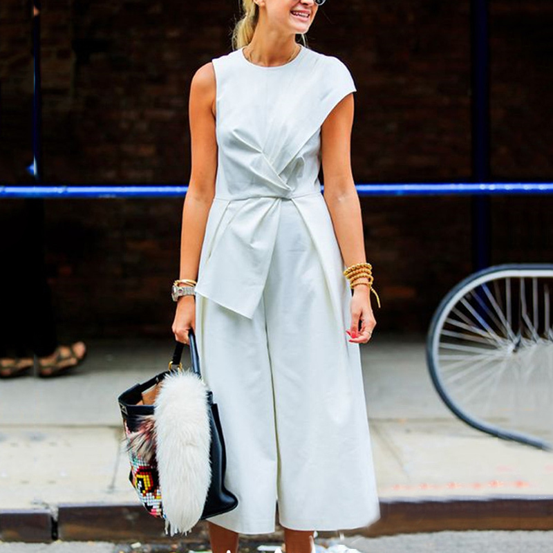 Sleeveless Jumpsuits Female Patchwork Tunic High Waist Ankle Length Wide Leg Trousers Summer Tide Ol Clothes (Us 2-6)
