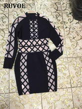 Guangzhou Women Clothing Factory Sales Directly New Mesh Long Sleeve High Neck Autumn Winter Sexy Lace Up Bodycon Party Dresses(China)