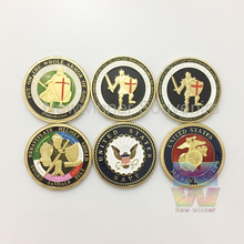 1 oz United States Navy Put Armor Challenge Gold Plated coins Defend The Faith American military coins Marine Corps medals