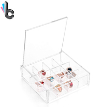 12 Grid Transparent Jewelry Box Cosmetic Storage Box with Cover Necklace Earring Acrylic Organizer Box