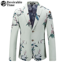 Men's Slim Fit Blazer and Suit Jacket Big Sizes M-5XL Brand Clothing Mens Casual Floral Party Blazers DT074(China)