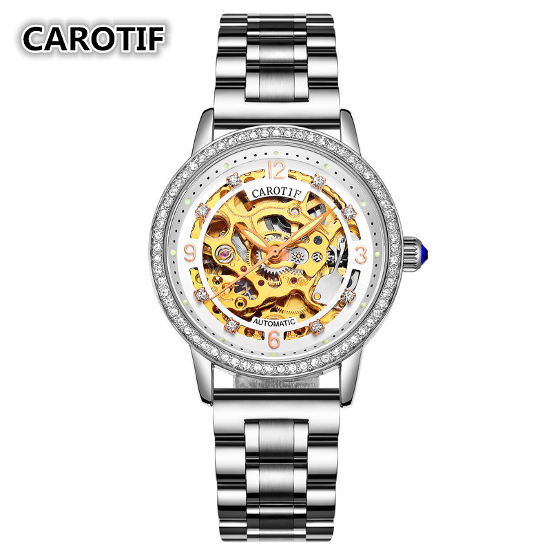 Luxury Brand Skeleton Sapphire Crystal Women Mechanical Watch Reloj Mujer Fashion Elegant Ladies Watch Montre Femme<br>
