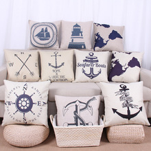 1Pcs Anchor Clock Printed Cotton Linen Pillow Cushion Cover Seat Car Home Decoration Sofa Bed Decor Decorative Pillowcase 40008