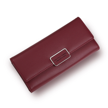 Fashion Elegant Women Long Leather Wallet Portable Multifunction Solid Color Purse Hot Female Change Purse Lady Clutch Carteras(China)